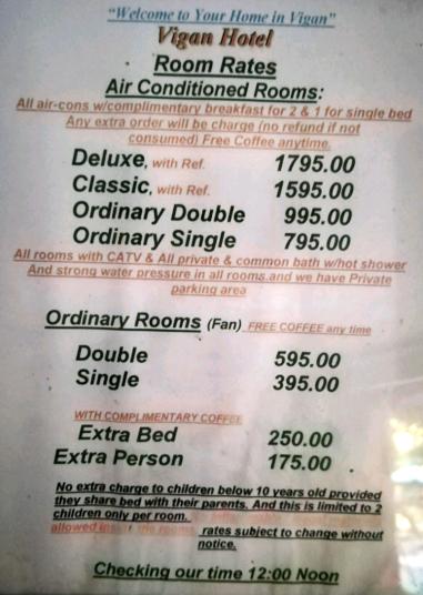 Précios del Hotel