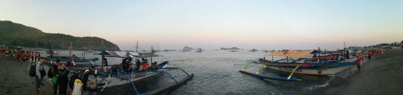 En la Playa antes de embarcar