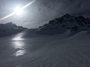 Sombras destellos y cambios de nieve