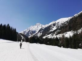 Subida por las pistas de ski